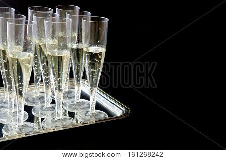 Champagne Flutes Glasses Isolated On Black Background