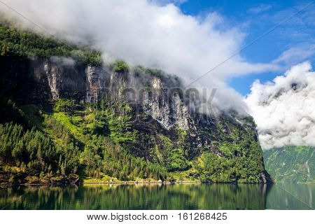 Norwegian landscape with the Geiranger fjord listed as a UNESCO World Heritage Site