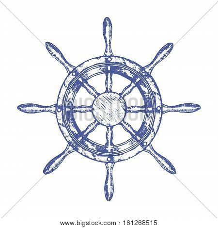Ship Steering Wheel Hand Draw Sketch Navigation Equipment Yacht. Retro Vintage Style Vector illustration
