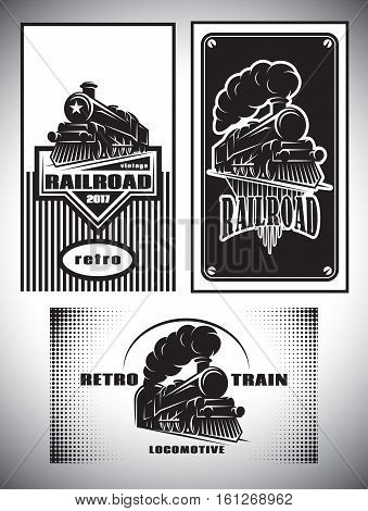 Business cards template set. Vintage steam train old retro railroad
