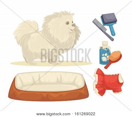 Dogs Set of accessories for dogs. Collection of pet symbol. domestic animal icons bowl, bone, canine food, leash and grooming accessories. Cartoon style. Vector illustration isolated on white