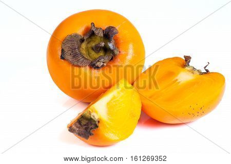 Persimmons fruits isolated on white background. Isolated objects