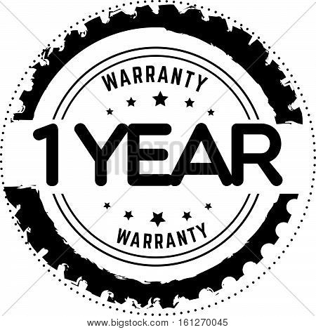 1 year warranty icon vintage rubber stamp