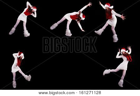 Young woman gymnast dressed as santa's elf jumping in the air without visible ropes isolated on black background