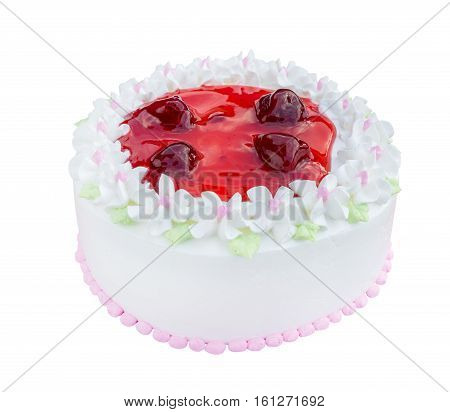 White Biirthday Cake With Strawberry Isolated On White Background (with Clipping Path)