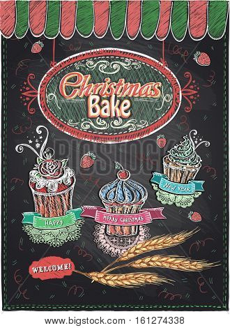 Christmas bake hand drawn chalkboard design, holiday baking, cute new year cupcakes set illustration