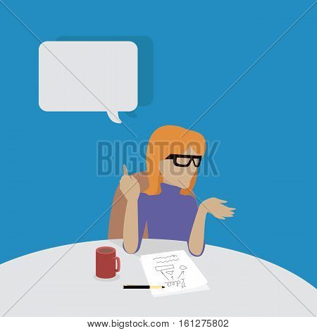 Young businesswoman thinking and writing. Woman in purple dress sitting at the table with empty dialog window. Woman pensive. Isolated object in flat design on white background. Vector illustration