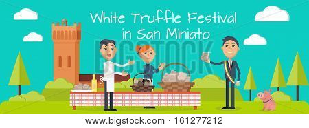 Festival of truffle festival in San Miniato web banner. Happy people selling tasty mushrooms on culinary holiday in Italy town, piggy, castle tower, trees vector illustrations on turquoise background