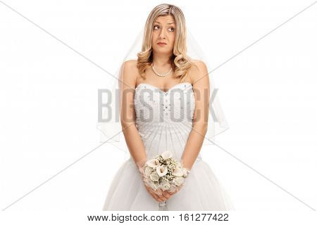Embarrassed bride with a wedding flower isolated on white background