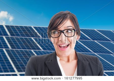 Excited Female Portrait At Solar Power Station