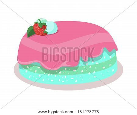 Delicious cake. Festive cake web banner. Chocolate cake bakery isolated design flat. Birthday cake, dessert and cookies, sweet confectionery, delicious cream, tasty pastry cake. Vector illustration