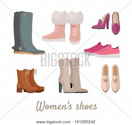 Set of woman s shoes. Flat design vector. Collection of leather colored shoes, sneakers, moccasins, boots illustrations. Wear for all seasons. For shoes store ad, fashion concepts. On white background