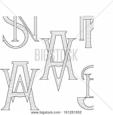 Set of elegant monograms with two letters. SN KR AV AW JB. Monogram logo identity for author, photographer, restaurant, hotel, heraldic, jewelry.