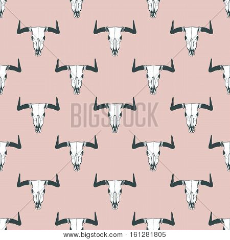 Vector Seamless Pattern With Hand Drawn Buffalo Skulls. Tribal Style Pastel Background.