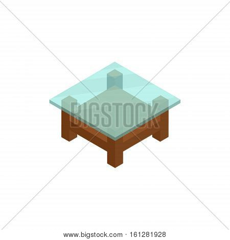 Table isometric icon or logo. 3d vector illustration of table. Isometric vector furniture. Element of home interior for web design, mobile app, infographic. Vector isometric icon of table