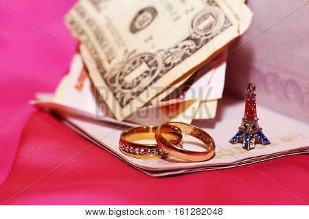 honeymoon trip, honeymoon, Paris travel, money and wedding rings