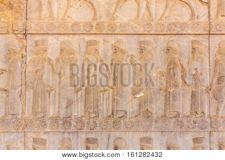 Stone bas-relief in ancient city Persepolis, Iran.