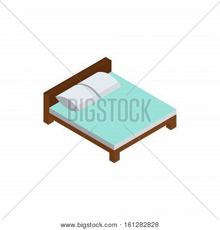Bed isometric icon or logo. 3d vector illustration of bed. Isometric vector furniture. Element of home interior for web design, mobile app, infographic. Vector isometric icon of bed