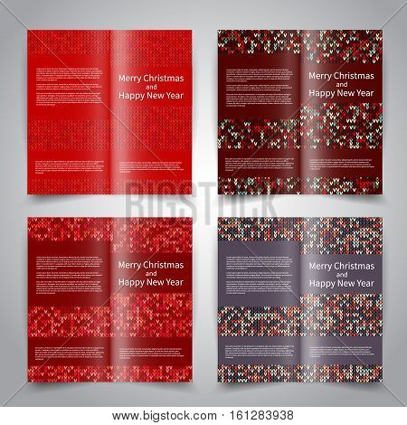 Brochure design templates set with knitted ornament background. Red colors. Vector Merry Christmas and Happy New Year brochure mockup EPS10
