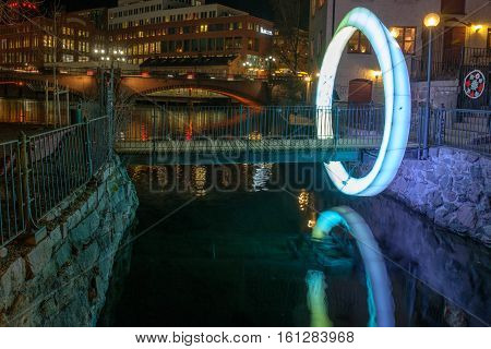 NORRKOPING, SWEDEN - DECEMBER 8, 2016: Norrkoping Light festival in the unique industrial landscape of Norrkoping.  Norrkoping is a historic industrial town in Sweden