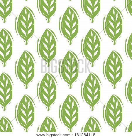 Green and white linocut leaves seamless pattern, vector background