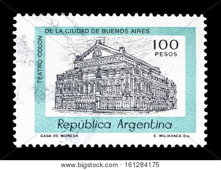 ARGENTINA - CIRCA 1977 : Cancelled stamp printed by Argentina, that shows Columbus Theater.