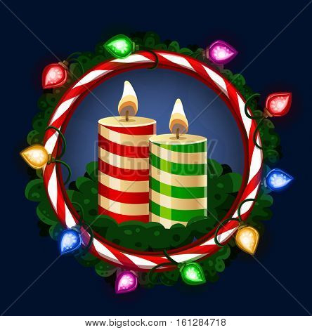 Christmas candles in frame. Vector illustration