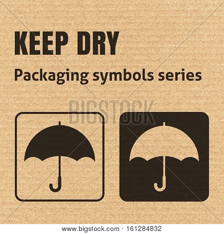Keep Dry Packaging Symbol On A Corrugated Cardboard Background. For Use On Cardboard Boxes, Packages