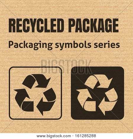 Recycled Package Packaging Symbol On A Corrugated Cardboard Background. For Use On Cardboard Boxes,