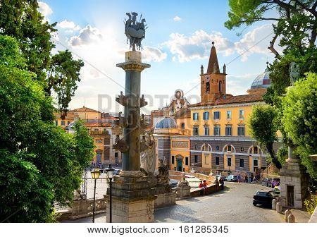 View on Piazza del Popolo in Rome, Italy
