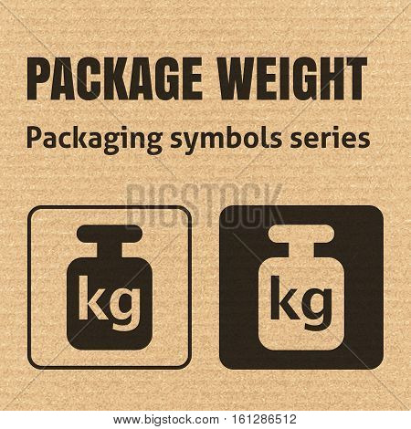 PACKAGE WEIGHT packaging symbol on a corrugated cardboard background. For use on cardboard boxes packages and parcels. EPS10 vector illustration