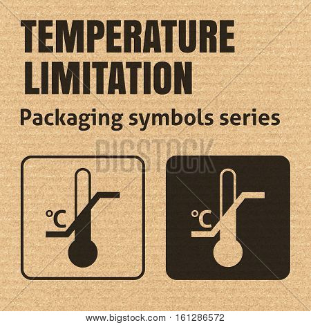 TEMPERATURE LIMITATION packaging symbol on a corrugated cardboard background. For use on cardboard boxes packages and parcels. EPS10 vector illustration