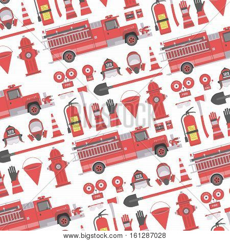 Color vector seamless pattern firefighter equipment. Flat icon background