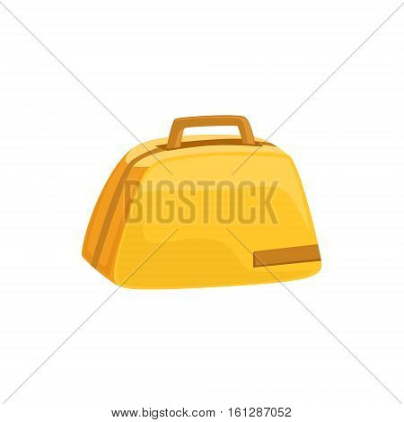 Stylish Yellow Female Handbag Item From Baggage Bag Cartoon Collection Of Accessories. Personal Travel Luggage Piece Isolated Vector Icon.