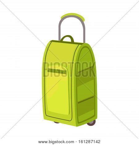 Large Green Suitcase On Wheels With Telescopic Handle Item From Baggage Bag Cartoon Collection Of Accessories. Personal Travel Luggage Piece Isolated Vector Icon.