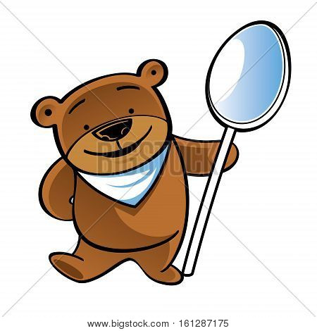 Standing funny teddy bear with big spoon