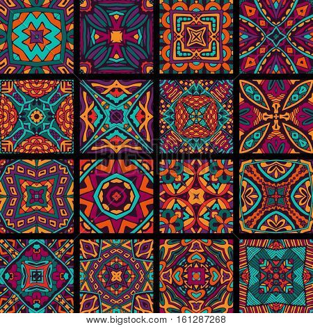 set of seamless pattern. Vintage decorative tiles elements. Abtract festive colorfull geometric designs