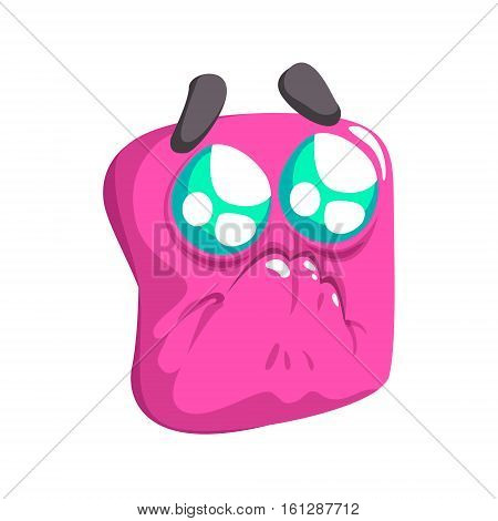 Begging Pink Emoji Cartoon Square Funny Emotional Face Vector Colorful Isolated Sticker. Comic Childish Character Head With Facial Expression For Emoticon Icon.