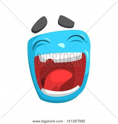 Laughing Blue Emoji Cartoon Square Funny Emotional Face Vector Colorful Isolated Sticker. Comic Childish Character Head With Facial Expression For Emoticon Icon.