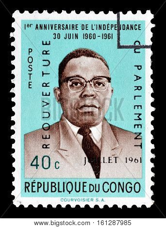 CONGO - CIRCA 1961 : Cancelled stamp printed by Congo, that shows President Casavubu.