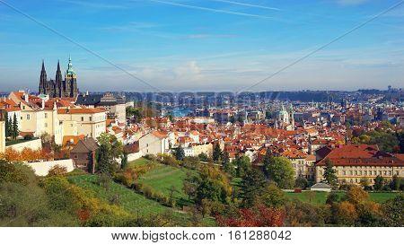 Prague panorama with Prague Castle, Prague river Vltava