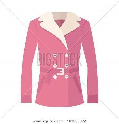 Women double-breasted fur jacket isolated on white. Cozy autumn and winter clothes. Fashionable outerwear. Winter jacket icon flat style design. Fashion wear. Woman long coat illustration. Vector