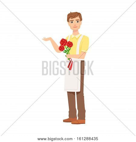 Man Florist In Apron Working As Flower Shop Attendant Holding Bouquet Of Roses In Hands. Professional Creating Floral Composition In The Plant Store Cartoon Vector Character.