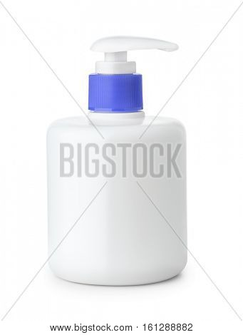 Blank plastic bottle of liquid soap with  pump dispenser  isolated on white