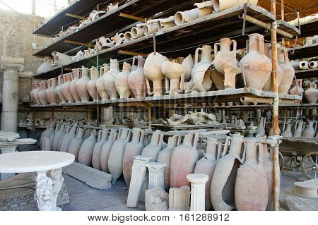 Roman pots in Pompeii, after volcano eruption