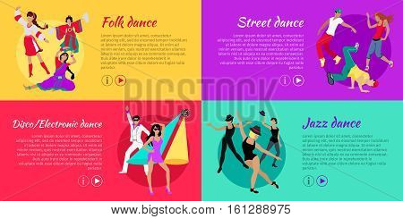 Collection of dancing web banners. Flat style. Folk, disco, electronic, street, jazz dance concepts with dancing women and men in modern and national clothes. For dancing club ad, landing page design