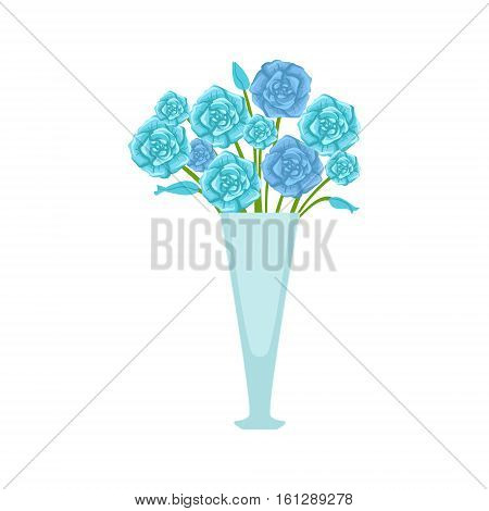 Blue Roses Flower Bouquet In Tall Flower Vase, Flower Shop Decorative Plants Assortment Item Cartoon Vector Illustration. Natural Floral Composition From Florist Store Isolated Item.