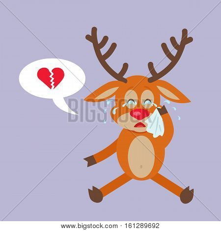 Deer crying for broken heart. Reindeer disappointed in love in flat style design. Disenchantment in relationships with girlfriend. Concept about one-side love, difficult love and expectancy. Vector