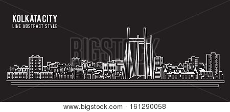 Cityscape Building Line art Vector Illustration design - Kolkata City