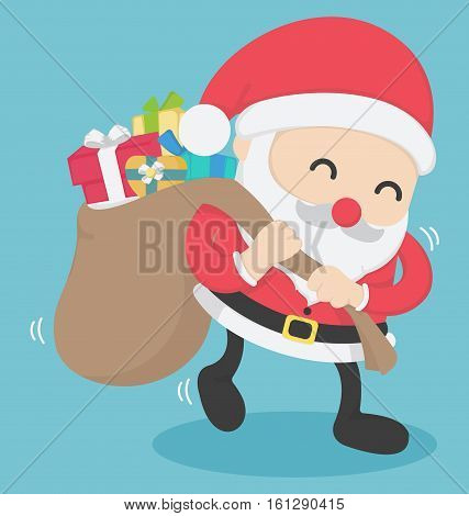 Christmas Santa Claus carrying big bag full with presents on new year's day poster. Vector illustration. Merry christmas and Happy new year.